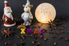 Decoração do Natal com varas de canela pão-de-espécie e especiarias imagens de stock