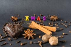 Decoração do Natal com varas de canela pão-de-espécie e especiarias fotografia de stock royalty free