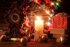 Decoração do Natal com vela Fotos de Stock Royalty Free