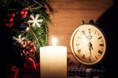 Decoração do Natal com vela Imagens de Stock