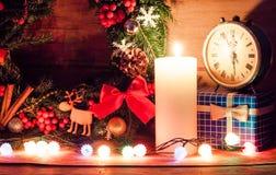 Decoração do Natal com vela Fotografia de Stock