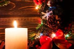 Decoração do Natal com vela Imagens de Stock Royalty Free