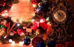 Decoração do Natal com vela Fotografia de Stock Royalty Free
