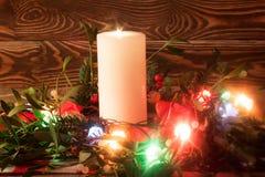 Decoração do Natal com vela Fotos de Stock