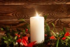 Decoração do Natal com vela Foto de Stock