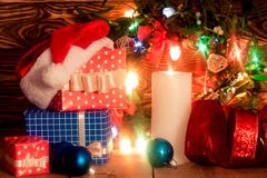 Decoração do Natal com vela Foto de Stock Royalty Free