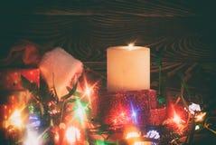 Decoração do Natal com vela Imagem de Stock Royalty Free