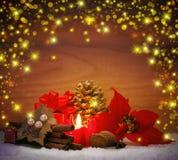 Decoração do Natal com vela do advento Fotos de Stock