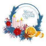 Decoração do Natal com vela e folhas Imagens de Stock Royalty Free