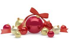 Decoração do Natal e do ano novo de bolas brilhantes e brilhantes Imagens de Stock