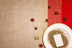 Decoração do Natal e jantar ou utensílios de mesa da ceia Imagem de Stock Royalty Free
