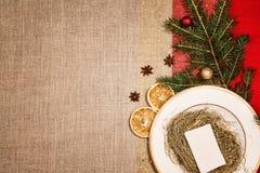 Decoração do Natal e jantar ou utensílios de mesa da ceia Fotografia de Stock Royalty Free