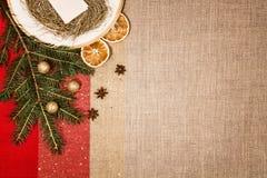 Decoração do Natal e jantar ou utensílios de mesa da ceia Imagens de Stock