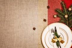 Decoração do Natal e jantar ou utensílios de mesa da ceia Foto de Stock
