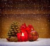 Decoração do Natal e vela do advento Imagens de Stock Royalty Free