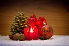 Decoração do Natal e vela do advento Imagens de Stock