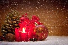 Decoração do Natal e vela do advento Foto de Stock Royalty Free