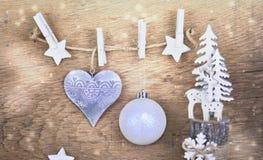 Decoração do Natal em de madeira fotos de stock