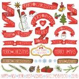 Decoração do Natal, fitas, etiquetas, rotulando colorido ilustração royalty free