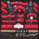 Decoração do Natal, fitas, etiquetas, rotulando quadro ilustração royalty free