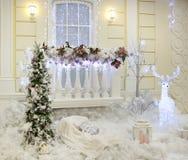 Decoração do Natal fora da casa Fotografia de Stock Royalty Free