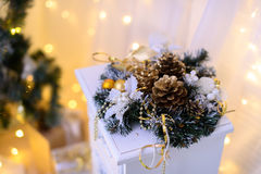A decoração do Natal ilumina o milagre do fundo Imagem de Stock