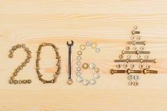 Decoração do Natal - inscrição 2016 no fundo claro Imagens de Stock