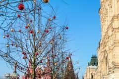 Decoração do Natal na árvore no quadrado vermelho foto de stock