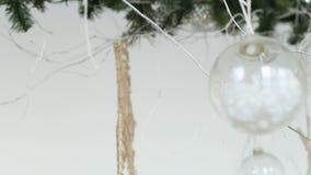 Decoração do Natal no fundo abstrato, filtro do vintage, foco macio video estoque
