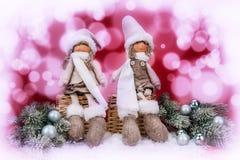 Decoração do Natal no fundo abstrato vermelho e branco foto de stock royalty free