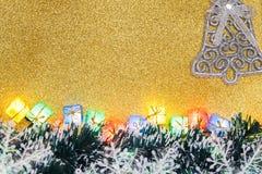Decoração do Natal no fundo do ouro Foto de Stock Royalty Free