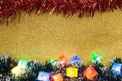 Decoração do Natal no fundo do ouro Fotografia de Stock