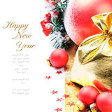 Decoração do Natal no tom vermelho e dourado Foto de Stock
