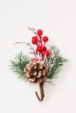 Decoração do Natal ramo de árvore em um vaso Fotos de Stock Royalty Free