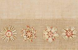 Decoração do Natal, Straw Star Snowflake, pano de saco decorativo Foto de Stock