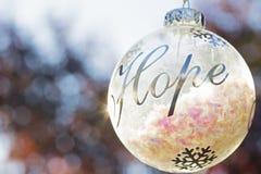 Decoração do ornamento do Natal com a esperança da palavra imagem de stock royalty free