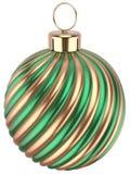 Decoração do ouro verde de véspera de anos novos da quinquilharia da bola do Natal Imagens de Stock