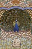 Decoração do pavão no palácio da cidade, Jaipur Imagem de Stock Royalty Free