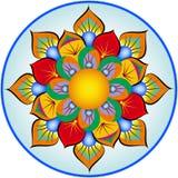 Decoração do prato com folhas estilizados Imagens de Stock Royalty Free