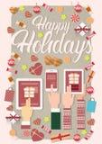 Decoração do presente do Natal da tabuleta do telefone do portátil do ano novo do dispositivo da eletrônica de dispositivo da pos Imagens de Stock