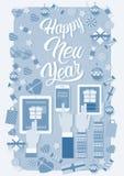 Decoração do presente do Natal da tabuleta do telefone do portátil do ano novo do dispositivo da eletrônica de dispositivo da pos Fotografia de Stock