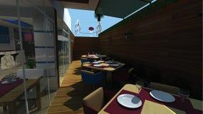 decoração do projeto do restaurante 3d Imagens de Stock Royalty Free