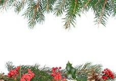 Decoração do quadro do Natal no branco fotos de stock