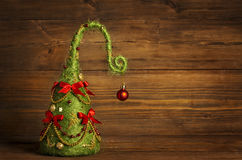 Decoração do sumário da árvore de Natal, fundo de madeira do Grunge Fotografia de Stock