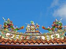 A decoração do telhado do templo oficial de Mazu Fotografia de Stock Royalty Free