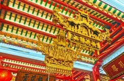 Decoração do templo de Guanyin Gumiao do chinês, Yangon, Myanmar Foto de Stock