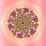 Decoração do Valentim do vintage com corações e rosas e rolos Boquet nupcial com o laço que envolve a decoração Fotografia de Stock