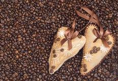 Decoração dois do coração no café Imagens de Stock