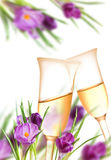 Decoração dos açafrões e das flautas de champanhe Fotografia de Stock Royalty Free