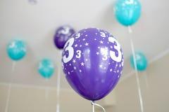 Decoração dos ballons do feliz aniversario Fotografia de Stock Royalty Free
